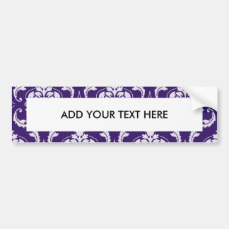 Dark Purple and White Vintage Damask Pattern Car Bumper Sticker