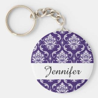 Dark Purple and White Vintage Damask Pattern Basic Round Button Keychain