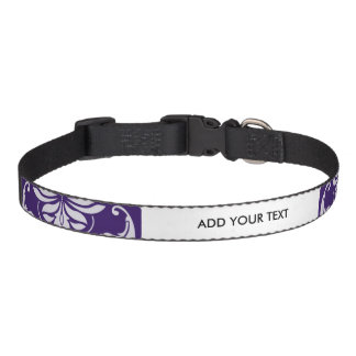 Dark Purple and White Vintage Damask Pattern Pet Collar