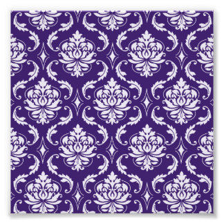 Dark Purple and White Vintage Damask Pattern Photo