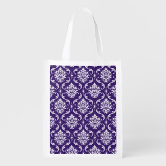 Dark Purple and White Vintage Damask Pattern Reusable Grocery Bag