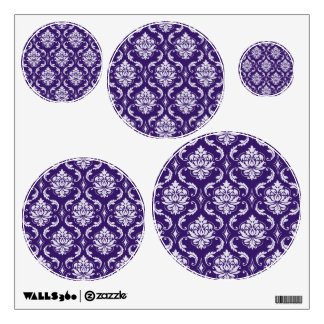 Dark Purple and White Vintage Damask Pattern Wall Decal
