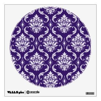 Dark Purple and White Vintage Damask Pattern Wall Sticker