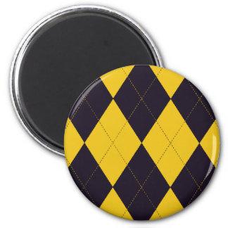 Dark Purple and Yellow Argyle Magnet