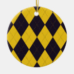 Dark Purple and Yellow Argyle Ornament