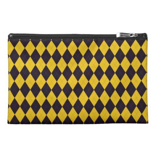 Dark Purple and Yellow Argyle Travel Accessory Bag