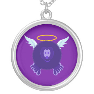 Dark Purple Angel Pom Pom Pal Necklace