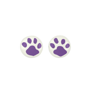 Dark Purple Animal Paw Print On White Background Earrings