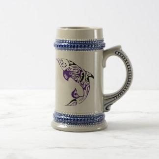 Dark Purple Black Tribal Dolphin Tattoo Design Beer Stein