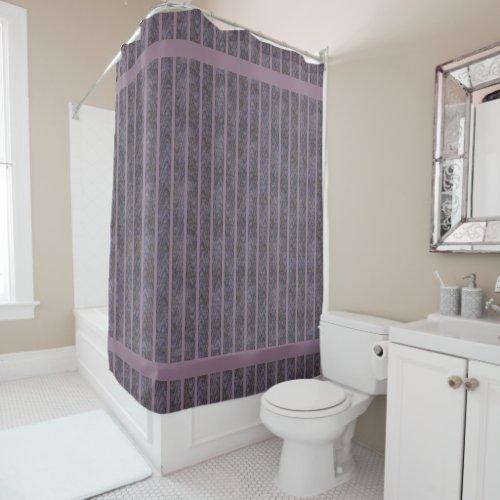 Dark Purple Blue Orange Waves Lavender Stripe Shower Curtain