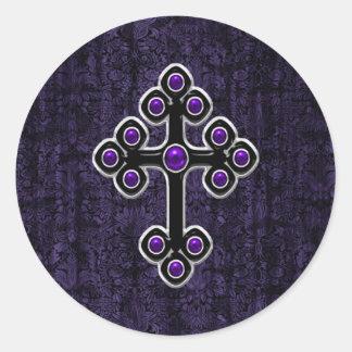 Dark Purple Damask Cross Classic Round Sticker