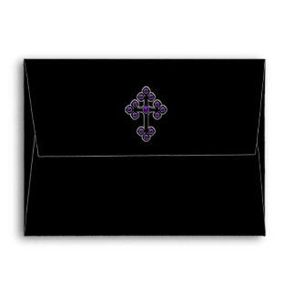 Dark Purple Damask Cross Envelope