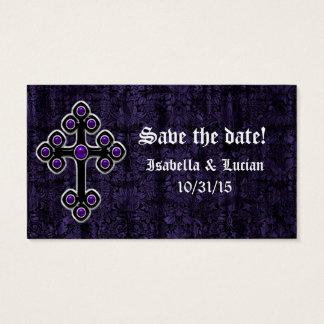 Dark Purple Damask Cross Gothic Wedding Business Card