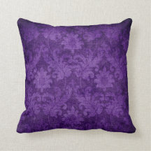 Dark Purple Damask Floral Decorative Pattern Throw Pillows