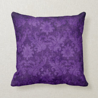 Dark Purple Damask Floral Decorative Pattern Throw Pillow