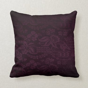 Dark Purple Damask Look Cushion Pillow