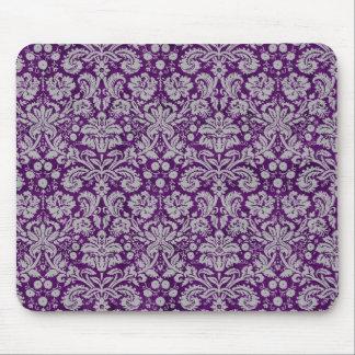 Dark Purple Damask Mouse Pad