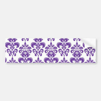 DARK PURPLE DAMASK PATTERN 2 CAR BUMPER STICKER