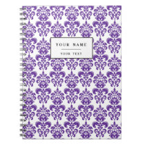DARK PURPLE DAMASK PATTERN 2 NOTEBOOK