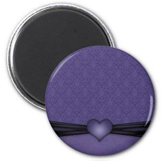 Dark Purple Damask with Heart 2 Inch Round Magnet