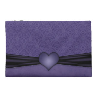 Dark Purple Damask with Heart Travel Accessory Bags