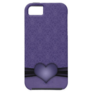 Dark Purple Damask with Heart iPhone 5 Covers