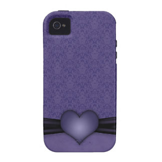 Dark Purple Damask with Heart Case-Mate iPhone 4 Cover