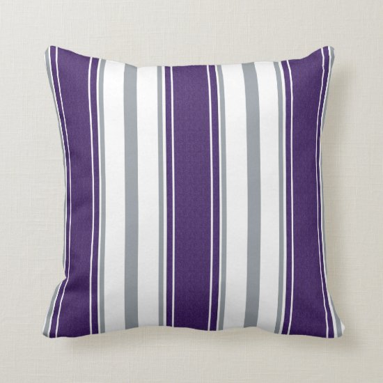 Dark Purple Denim Pale Gray Stripes Pattern | Throw Pillow