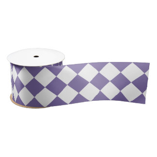 Dark Purple Diamond Pattern Satin Ribbon