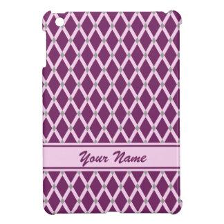 Dark Purple Diamonds-Pink Frames iPad Case
