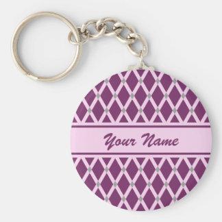 Dark Purple Diamonds-Pink Frames Keychain