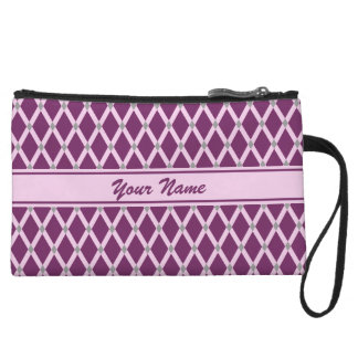 Dark Purple Diamonds-Pink Frames Mini-Clutch Wristlet Wallet