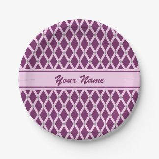 Dark Purple Diamonds-Pink Frames Paper Plate