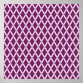 Dark Purple Diamonds-Pink Frames Poster