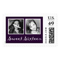 Dark Purple Double Photos Sweet Sixteen Postage