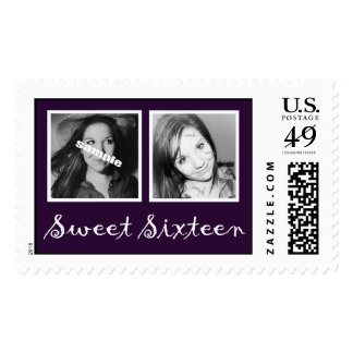 Dark Purple Double Photos Sweet Sixteen Postage Stamps