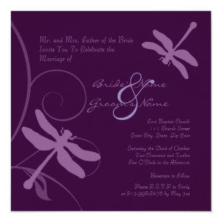 Dark Purple Dragonfly Wedding Invitation
