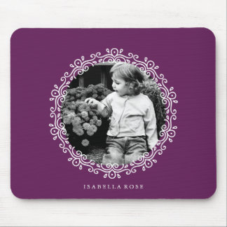 Dark Purple Fancy Swirls Photo Frame Mouse Pad
