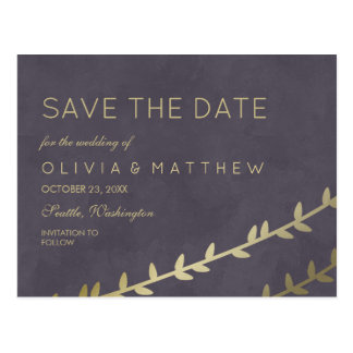 Dark Purple & Faux Gold Leaves | Save the Date Postcard