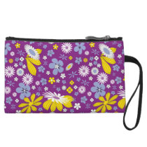 Dark Purple Floral Art Pattern Wristlet