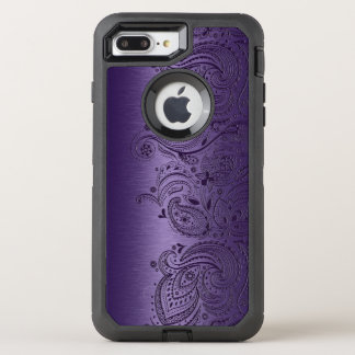 Dark Purple Floral Lace On Metallic Purple Texture OtterBox Defender iPhone 7 Plus Case