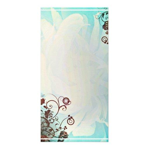 Dark Purple floral on creative blue design Photo Card