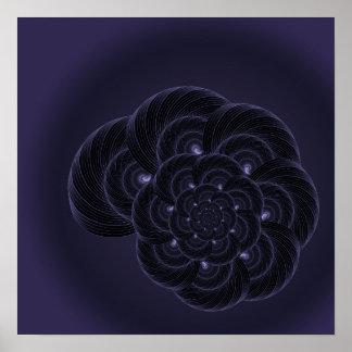 Dark Purple Flower Graphic. Spiral. Poster