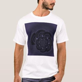 Dark Purple Flower Graphic. Spiral. T-Shirt
