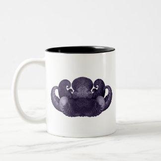 Dark Purple Fractal Curly Octopus Composite Art Two-Tone Coffee Mug
