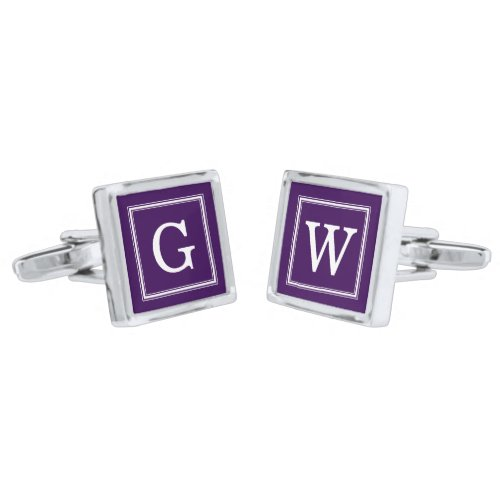 Dark Purple Framed Monogram Silver Cufflinks