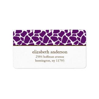 Dark Purple Giraffe Pattern Label