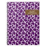 Dark Purple Giraffe Pattern Spiral Notebook