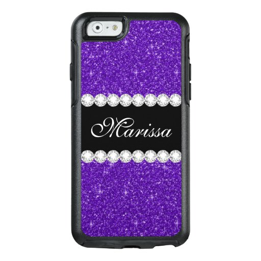 Dark Purple Glitter Black Otterbox iPhone 6 Case