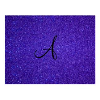Dark purple glitter monogram gifts post cards